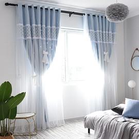 Modern Princess Embroidery Decoration Blackout Custom Curtain Sets for Living Room Bedroom 84W 84L 2 Panel Set