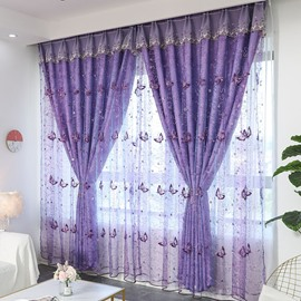 European Butterfly Embroidery Purple Curtain Sets Sheer and Lining Blackout Curtain for Living Room Bedroom Decoration No Pilling No Fading No off-lining