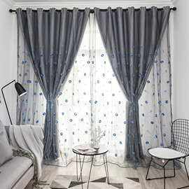 Modern Gray Curtain Sets Sheer and Lining Blackout Curtain for Living Room Bedroom Decoration Blue Plant Pattern No Pilling No Fading No off-lining