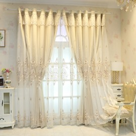 European High-end Beige Embroidery Curtain Sets Sheer and Lining Blackout Curtain for Living Room Bedroom Decoration No Pilling No Fading No off-lining