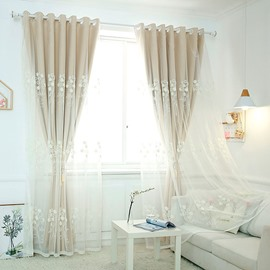 Modern Simple Curtain Sets Khaki and Gray Color Sheer and Lining Blackout Curtain for Living Room Bedroom Decoration No Pilling No Fading No off-lining
