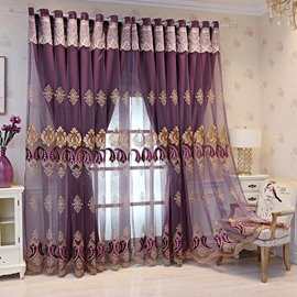 Purple European Double Embroidered Curtain Sets Sheer and Lining Blackout Curtains for Living Room Bedroom Decoration No Pilling No Fading No off-lining