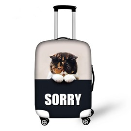 Cute Fat Cat Pattern 3D Painted Luggage Cover