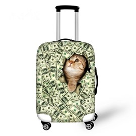 Cat With Dollars Pattern 3D Painted Luggage Cover