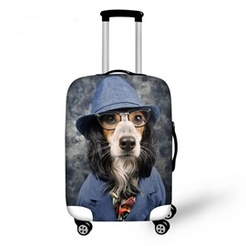 Creative Dog with Glasses Pattern 3D Painted Luggage Cover
