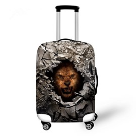 Lion Behind Stone Hole Pattern 3D Painted Luggage Protector Cover