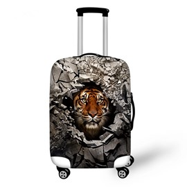 Tiger Behind Stone Hole Pattern 3D Painted Luggage Protector Cover