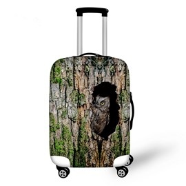 Vivid Owl in Tree Hole Pattern 3D Painted Luggage Protect Cover