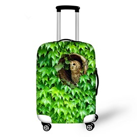 Bright Leaves with Bird Pattern 3D Painted Luggage Protect Cover