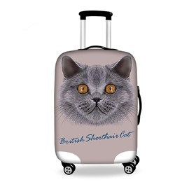 Fat Cat Denim Pattern 3D Painted Luggage Protect Cover