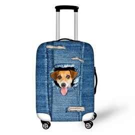 Lovely Dog Denim Pattern 3D Painted Luggage Protect Cover