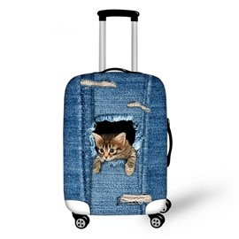 Curious Cat in Demin Pattern 3D Painted Luggage Protect Cover