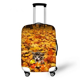 Adorable Cat in Maple Leaf Pattern 3D Painted Luggage Protect Cover