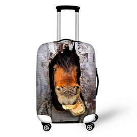 Horse with Wooden Pattern 3D Painted Luggage Cover