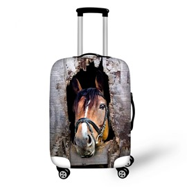 Creative Horse with Wooden Pattern 3D Painted Luggage Cover