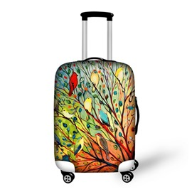 Colorful Birds on Tree Pattern 3D Painted Luggage Protect Cover
