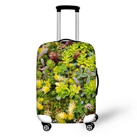Vivid Succulent Pattern 3D Painted Luggage Cover