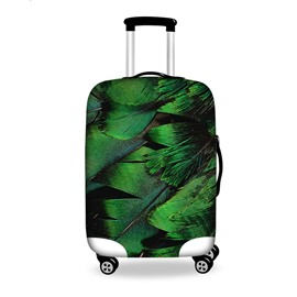 Special Green Feather Pattern 3D Painted Luggage Cover