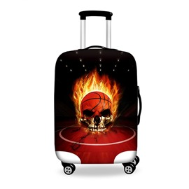 Popular Fire Basketball Skull Pattern 3D Painted Luggage Cover