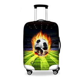 Fashion Fire Soccer Skull Pattern 3D Painted Luggage Cover