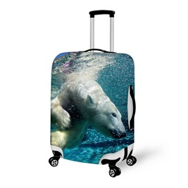 Swimming White Bear Pattern 3D Painted Luggage Cover