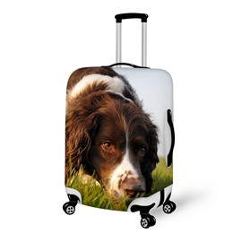 Dog Sniffing Grass Pattern 3D Painted Luggage Cover