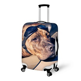 Placid Pilot Dog Face Pattern 3D Painted Luggage Cover