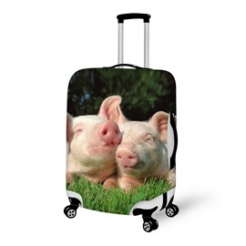 Couple Pig on Grass Pattern 3D Painted Luggage Cover