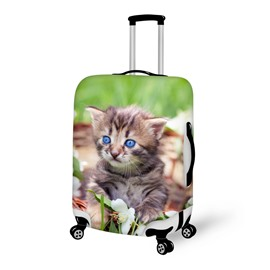 Creative Kitten on Grass Pattern 3D Painted Luggage Cover