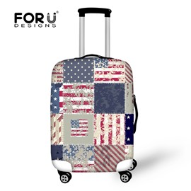 Retro Washable Travel Flag Spandex Fit 18-30 Inch 3D Printed Luggage Protector Covers