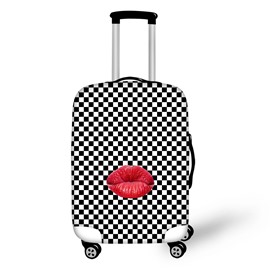 Black and White Grid Red Lips 3D Printed Waterproof Luggage Cover