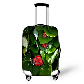 Green Leaves Ladybug Live Natural Washable Spandex 3D Printed Luggage Cover