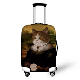 Cat's Smile Mona Lisa Style Waterproof Spandex 3D luggage Covers