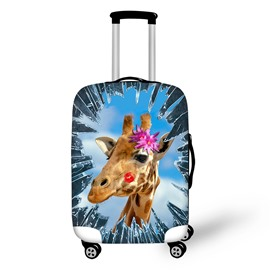 Giraffe Red Lips Flowers Spandex Washable Waterproof 3D Animals Travel Luggage Protective Suitcase Cover