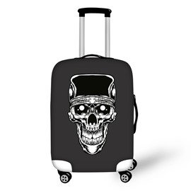 White Skull Head with Black Backgroud Spandex 3D Printed Waterproof Luggage Cover