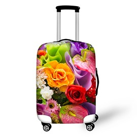 Different Flowers Washable Waterproof Travel Zipper Nylon 3D Luggage Cover