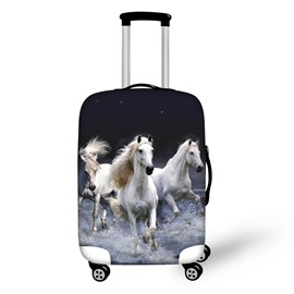 3D Printing Spandex White Horse Running Travel Dust proof Luggage Cover