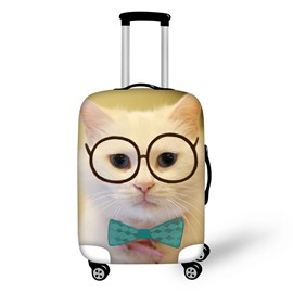 3D Printing Cat with Glasses Spandex Travel Dust proof Luggage Cover