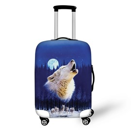 3D Animals Pattern Wolf Roar Nignt Waterproof Anti-Scratch Travel Luggage Cover