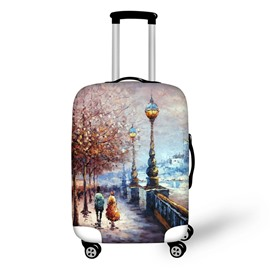Couple Walking Street Travel Luggage Cover 3D Pattern 19 20 21