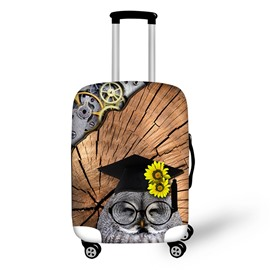 Dr. Owl Smile Floral 3D Pattern Suitcase Spandex Cover Protector for 20' 24' 28'