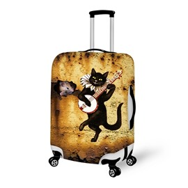 Cute Black Cat Playing Anti-Scratch Travel Luggage Cover Suitcase Protector 19' 20' 21'