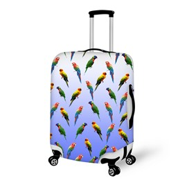 Parrot Animals Cute Gradual Change Blue Washable Waterproof Travel Zipper Nylon 3D Luggage Cover