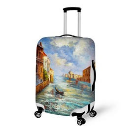 3D Oil Painting River Village Travel Luggage Cover Suitcase Protector 19