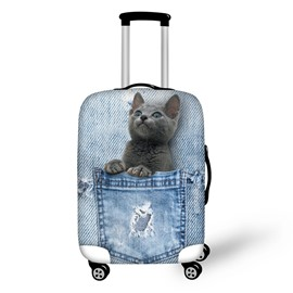 3D Jeans Style Blue Short Hair Waterproof Suitcase Protector for 19 20 21