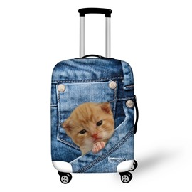 3D Jeans Cat Pattern Waterproof Suitcase Protector for 19 20 21