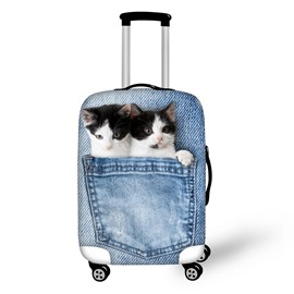 3D Jeans Twins Cat Pattern Waterproof Suitcase Protector for 19 20 21