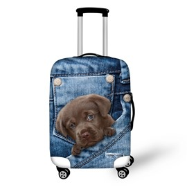 3D Jeans Style Black Dog Waterproof Suitcase Protector for 19 20 21