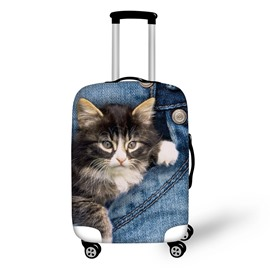 3D Jeans Kitty Retro Pattern Waterproof Suitcase Protector for 19 20 21