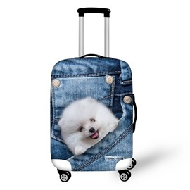 White Dog 3D Jeans Style Waterproof Suitcase Protector for 19 20 21